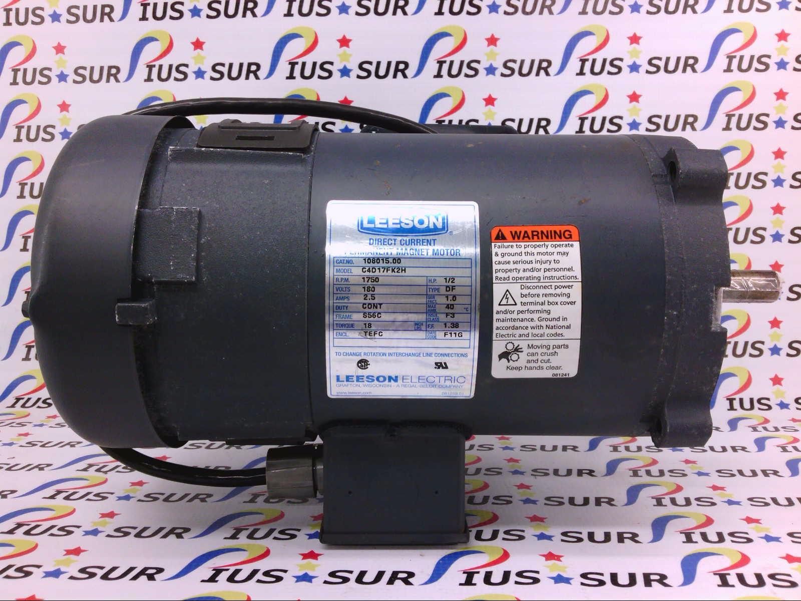 Leeson 108015 00 DC Permanent Magnet Motor C4D17FK2F 1/2HP 1750RPM TEFC DF  Electric Continuous Duty