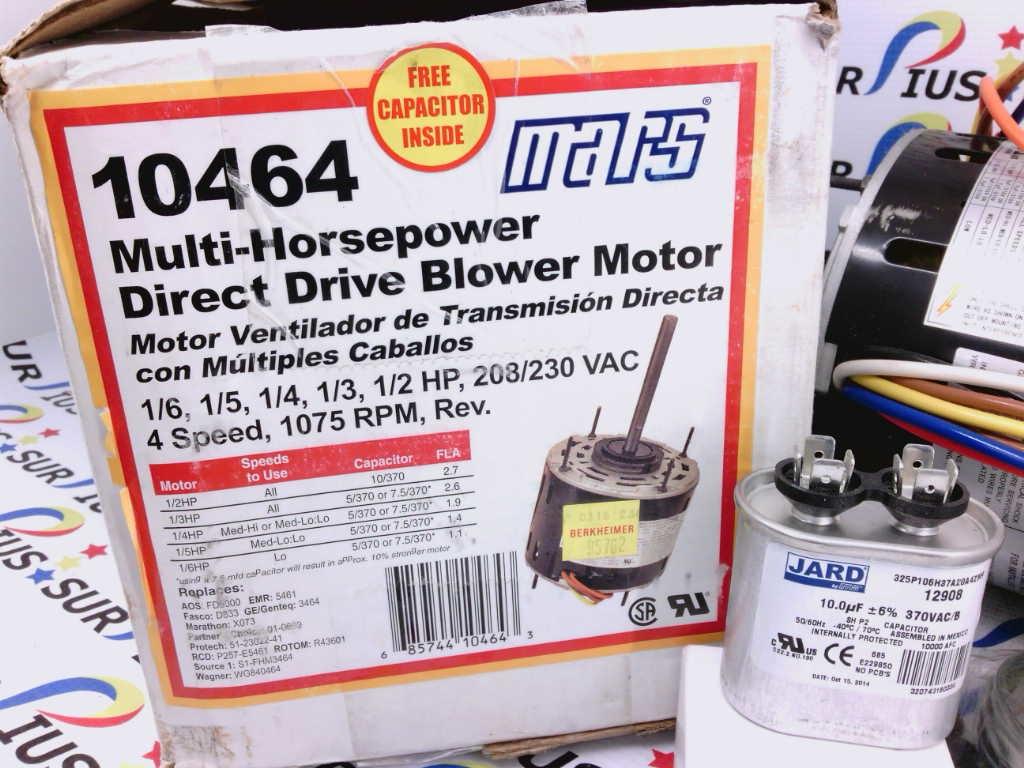 1/6-1/2 HP MARS 10464 MULTI-HP DIRECT DRIVE BLOWER MOTOR 208/230V 1075 RPM  - SurpiusSurpius