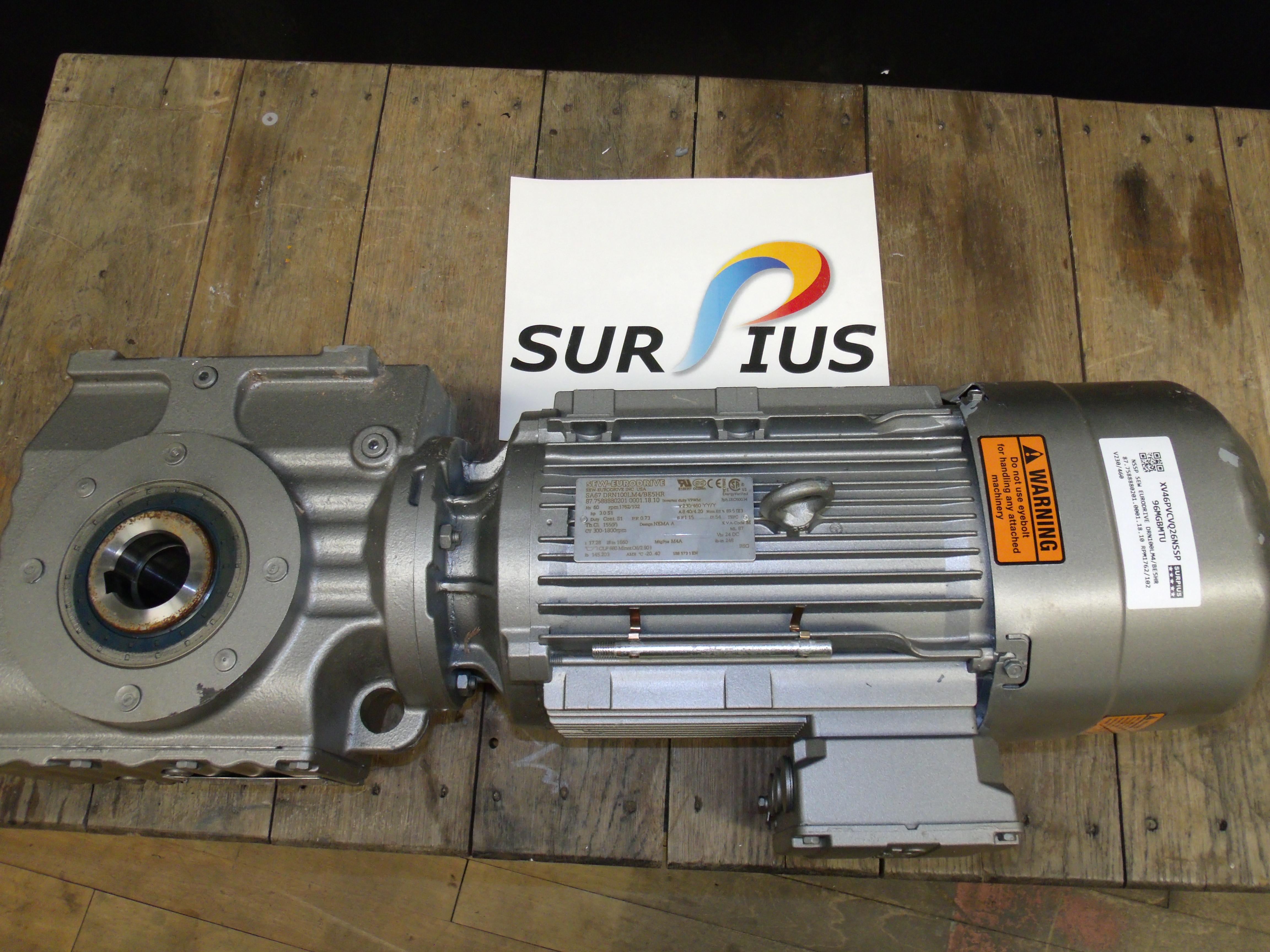 SEW Eurodrive Motor 3//4HP 3PH IP66TEFC 230//460V 1100RPM DRS71S6F6